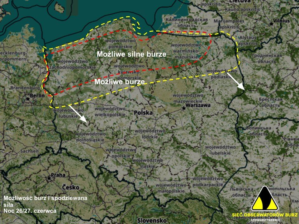 Prognozowany zasięg i spodziewana siła burz w nocy ze środy na czwartek (26/27.06) wg. modeli ECMWF i GFS.