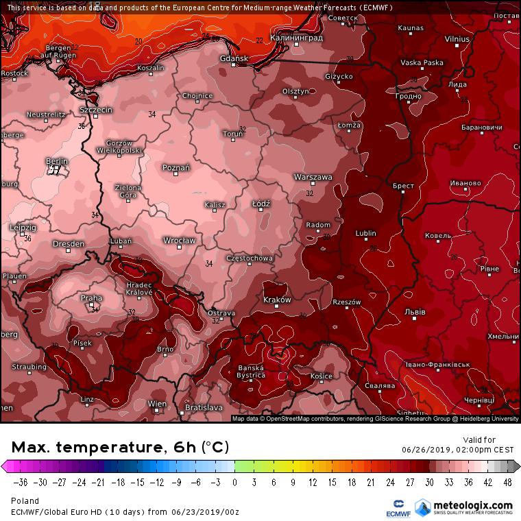 Prognozowana temperatura maksymalna w środę (26.06). Model ECMWF. Źródło: Meteologix