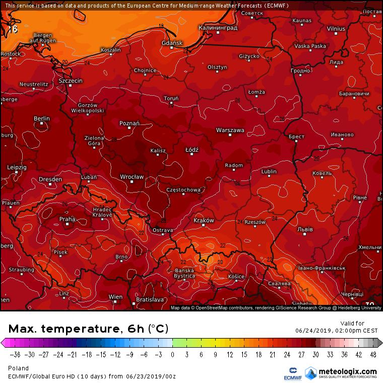 Prognozowana temperatura maksymalna w poniedziałek (24.06). Model ECMWF. Źródło: Meteologix