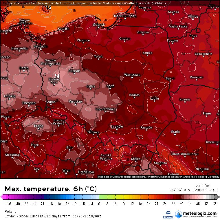 Prognozowana temperatura maksymalna we wtorek (25.06). Model ECMWF. Źródło: Meteologix