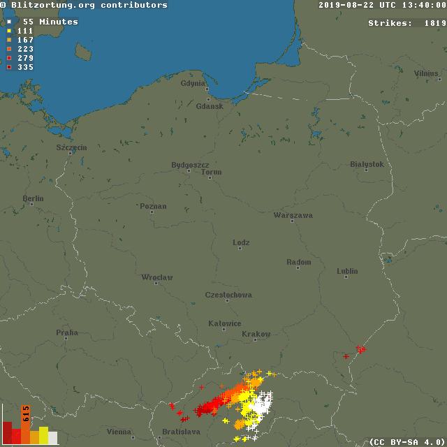 Grafika przedstawiająca wyładowania w dniu 22.08.2019 r. od godziny 8:05 do godziny 13:40. Widoczna jest droga komórek burzowych wraz z nieznacznym osłabnięciem przed granicą z Polską. Źródło: blitzortung.org