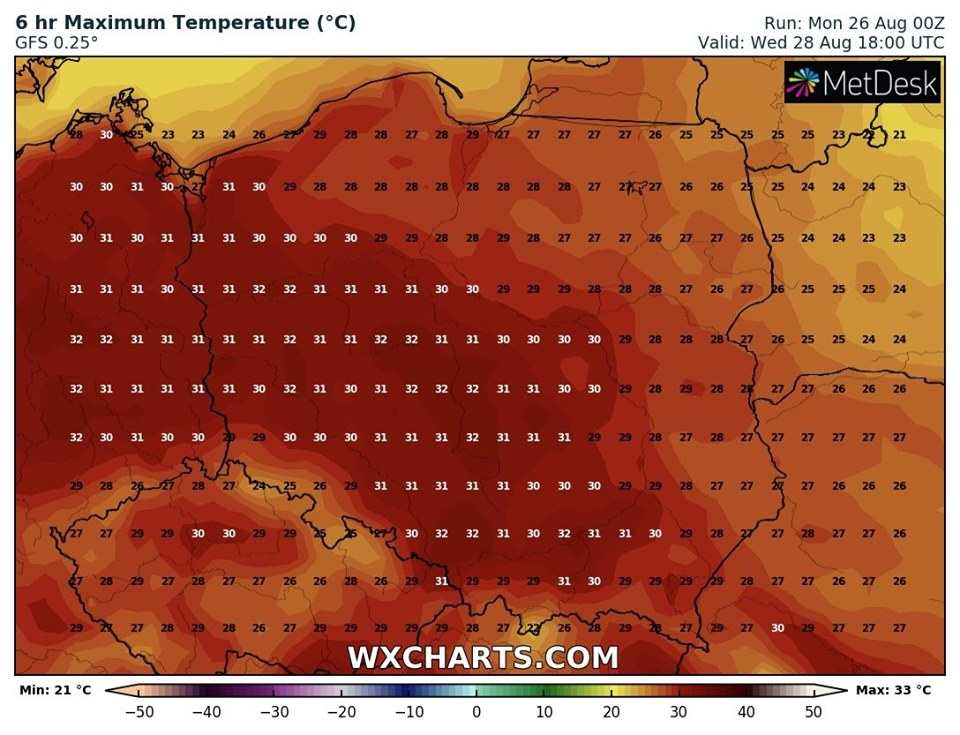 Prognozowana temperatura maksymalna we środę, 28.08.2019 (model GFS, źródło: wxcharts.com)
