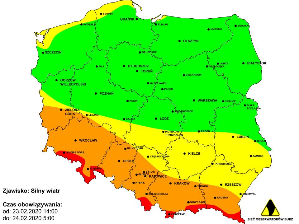 Prognoza i ostrzeżenie przed silnym i bardzo silnym wiatrem na niedzielę 23.02.2020 i noc z niedzieli na poniedziałek 23/24.02.2020