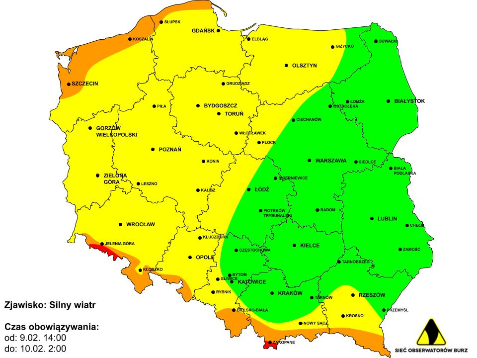Mapa ostrzeżeń wiatru 9.02