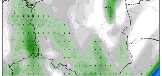 Prognozowana suma opadów na 1 maja 2019, model GFS. Źródło: wxcharts.com