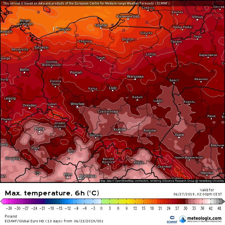 Prognozowana temperatura maksymalna w czwartek (27.06). Model ECMWF. Źródło: Meteologix