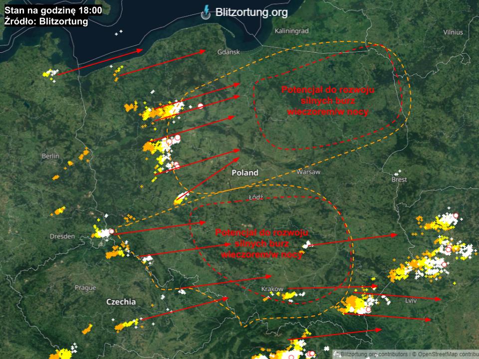 Aktualna sytuacja pogodowa - możliwy scenariusz rozwoju burz.