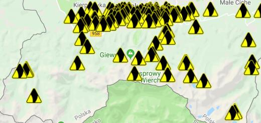 Grafika przedstawia lokalizacje powiadomień o nadchodzącej burzy z godzin około południowych dnia 22.08.2019 r. przesłanych przez aplikację Monitor Burz.