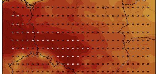 Prognozowana temperatura maksymalna w poniedziałek, 26.08.2019 (model GFS, źródło: wxcharts.com)