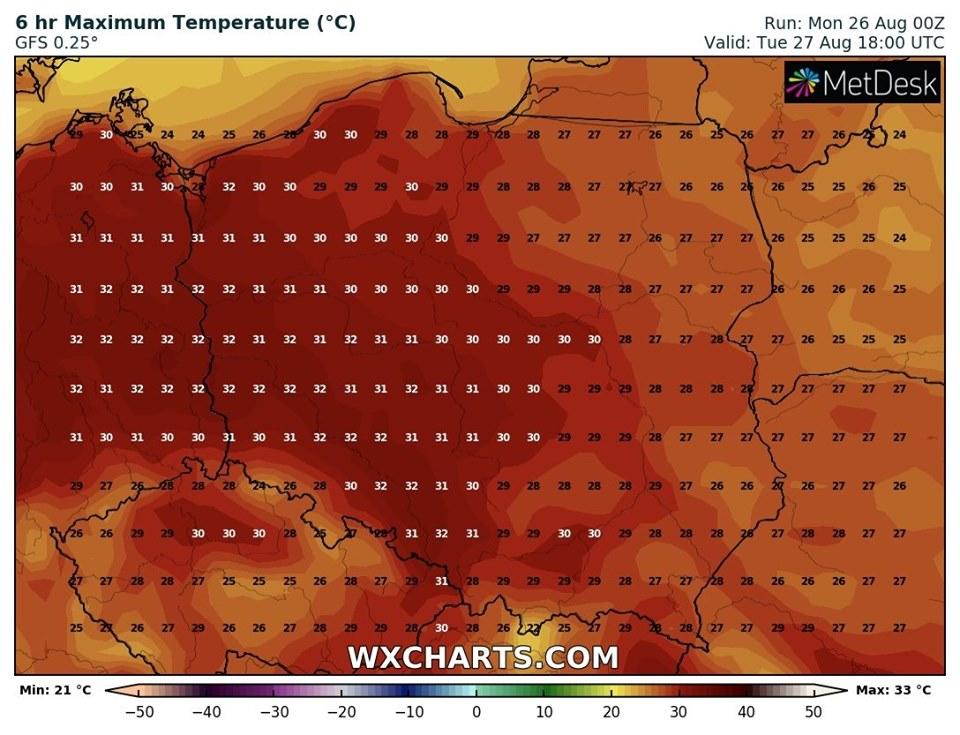 Prognozowana temperatura maksymalna we wtorek, 27.08.2019 (model GFS, źródło: wxcharts.com)