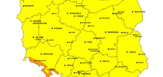 Mapa ostrzeżeń wiatru 10.02