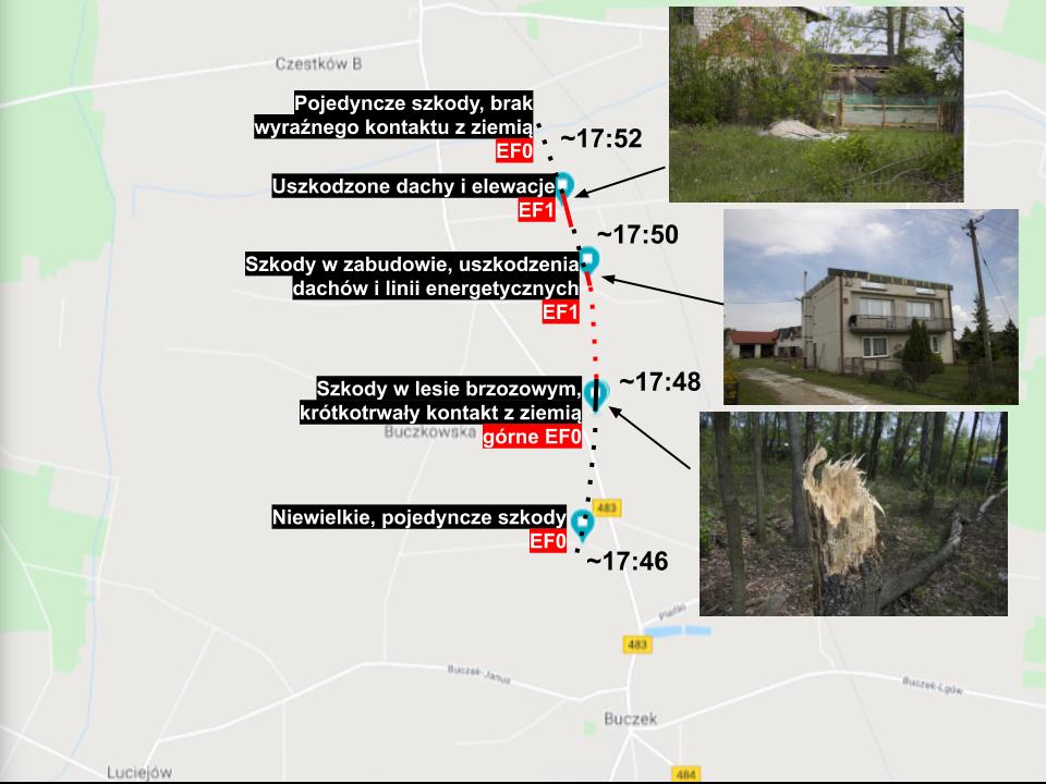 tornado w Buczku - trasa