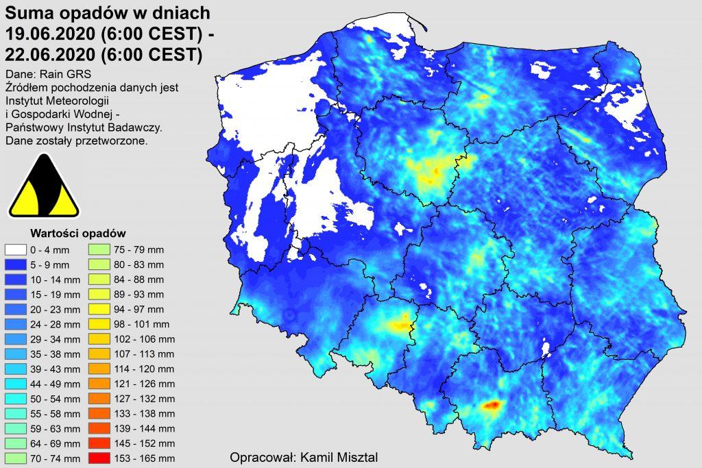 Suma opadów deszczu za okres od 19.06.2020 do 22.06.2020