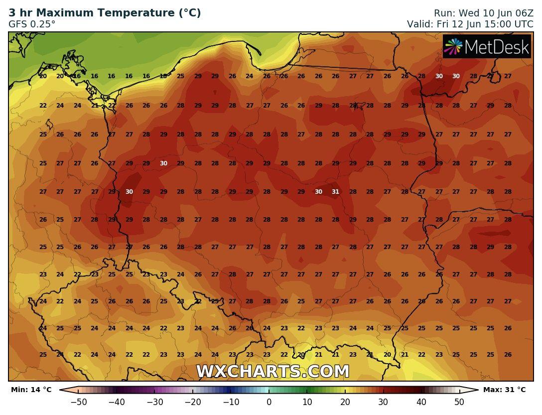 Prognozowana temperatura maksymalna na piątek, 12.06.2020