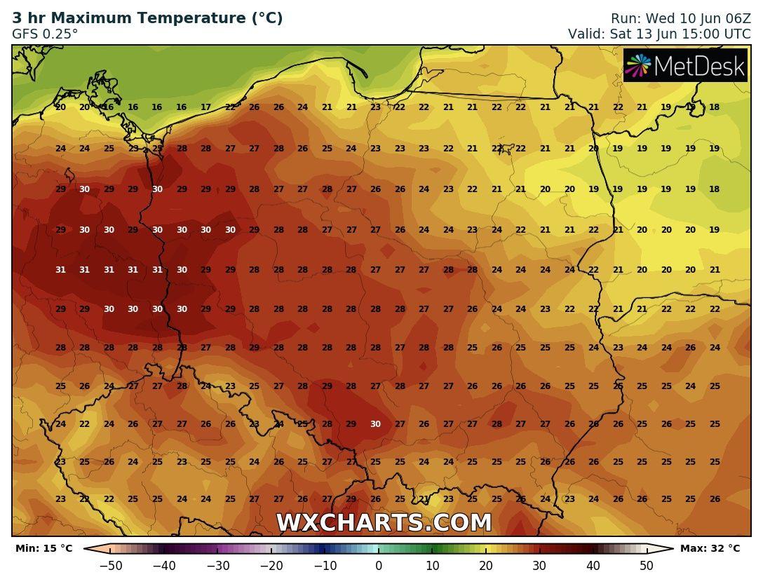 Prognozowana temperatura maksymalna na sobotę, 13.06.2020