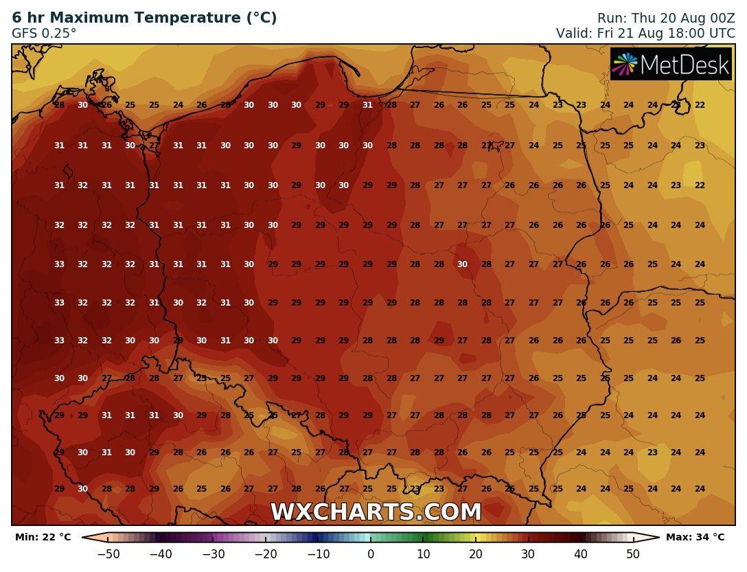 Prognozowana temperatura maksymalna w piątek, 22 sierpnia 2020 roku.
