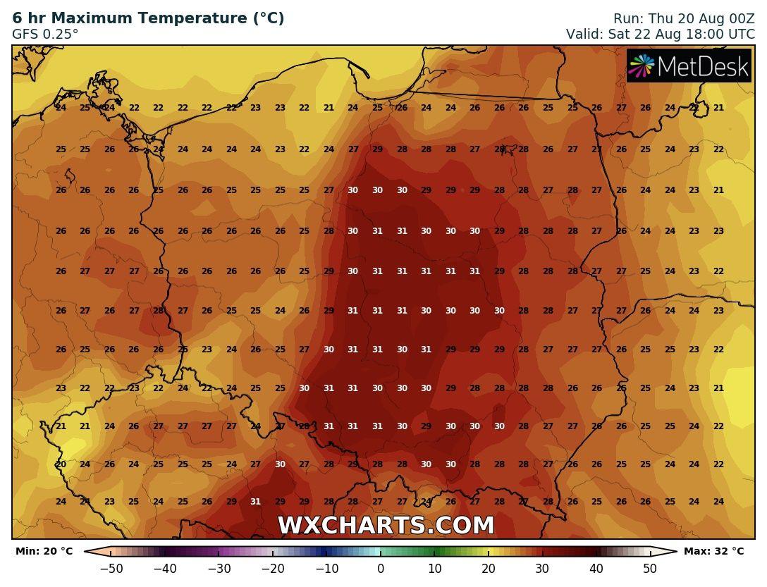 Prognozowana temperatura maksymalna w sobotę, 23 sierpnia 2020 roku.