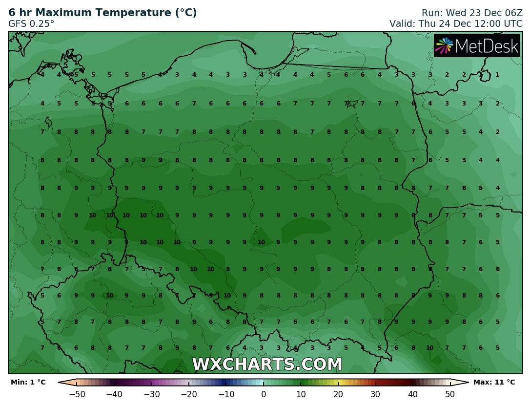 Prognozowana temperatura maksymalna 24 grudnia 2020 roku.