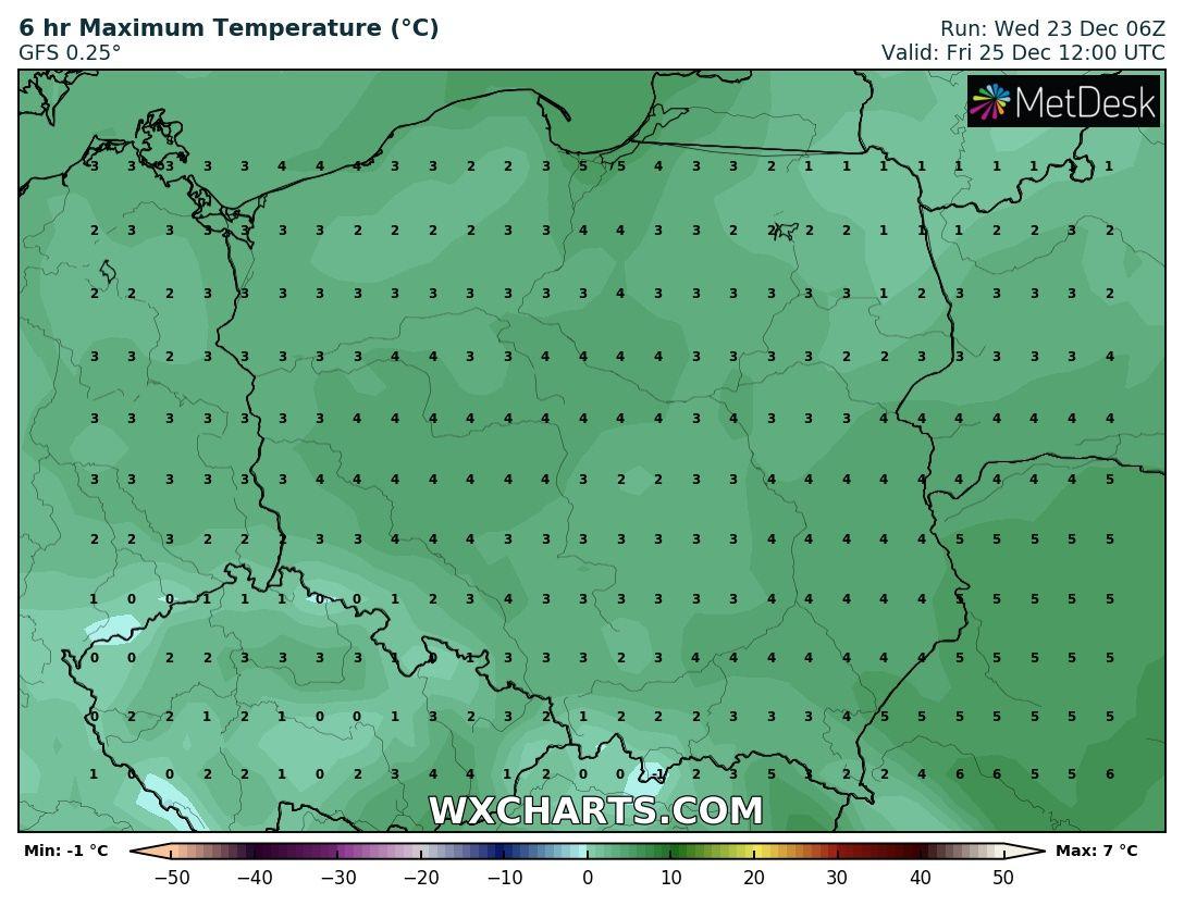 Prognozowana temperatura maksymalna 25 grudnia 2020 roku.