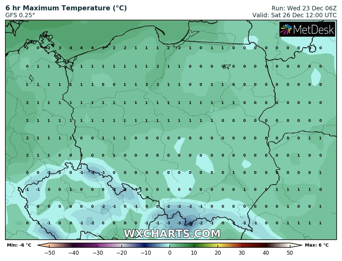 Prognozowana temperatura maksymalna 26 grudnia 2020 roku.