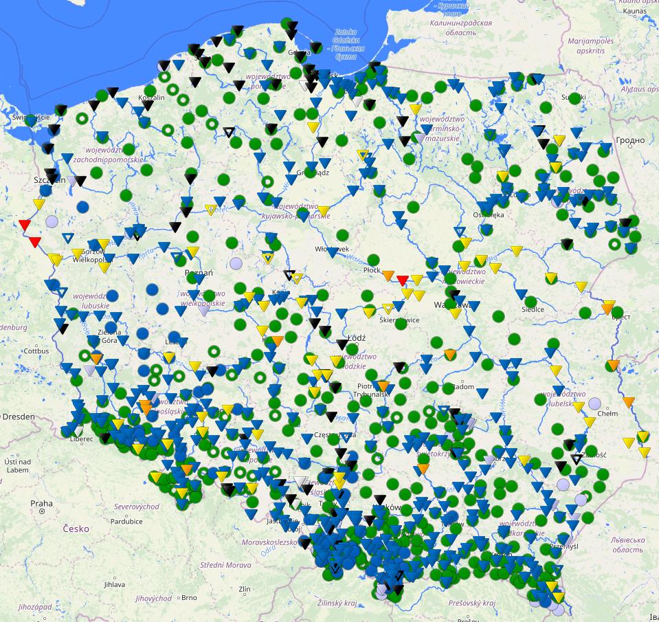 Stan wód rzek w Polsce, 16.02.2021, godz. 14 UTC, HYDRO IMGW-PIB
