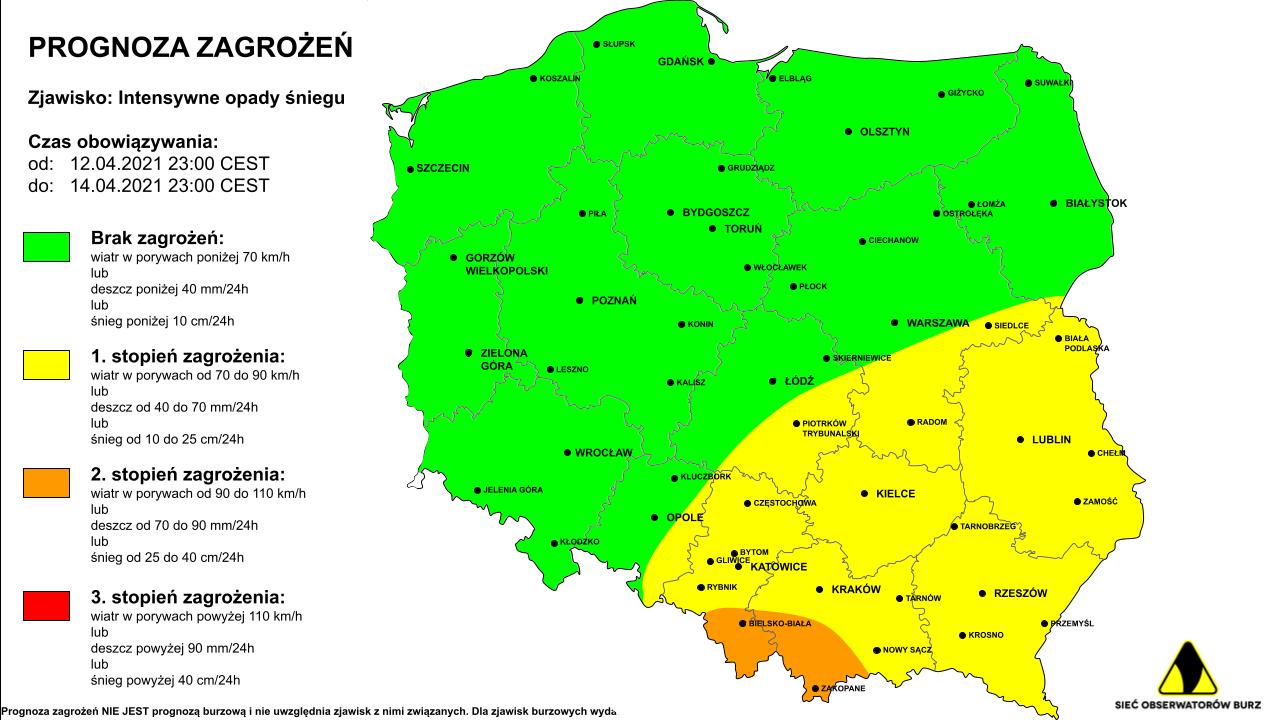 Intensywne opady śniegu - prognoza zagrożeń na 13 i 14.04.2021.