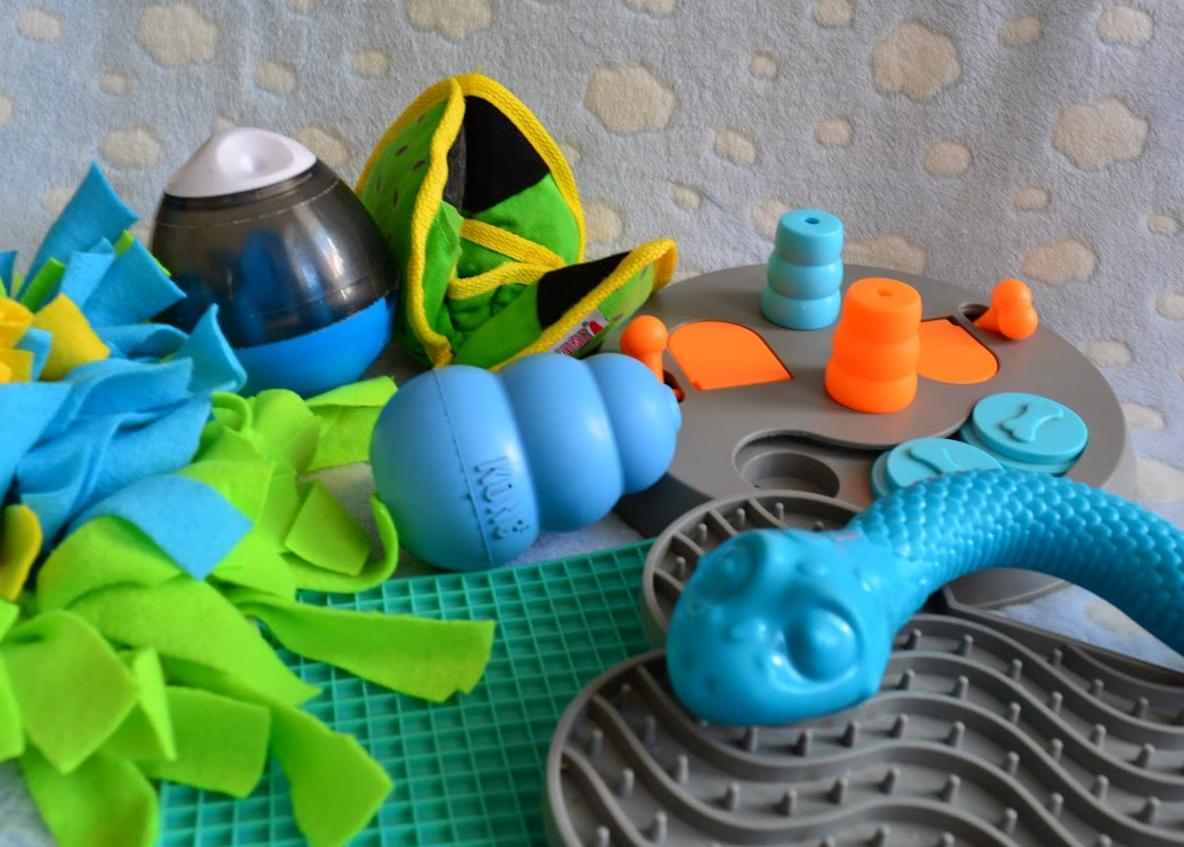 maty węchowe, maty do lizania i inne zabawki z których pies może wydobywać jedzenie to dobry sposób na relaks dla pupila